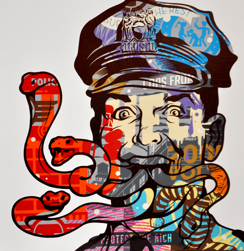 TrustoCorp :: Trusto Pulp (Cops From Hell) Mixed media on wood panel