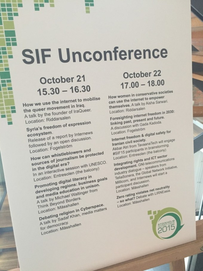 SIF Unconference programme