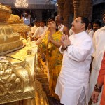 UNION HEALTH MINISTER OFFERS PRAYERS IN SRIVARI TEMPLE