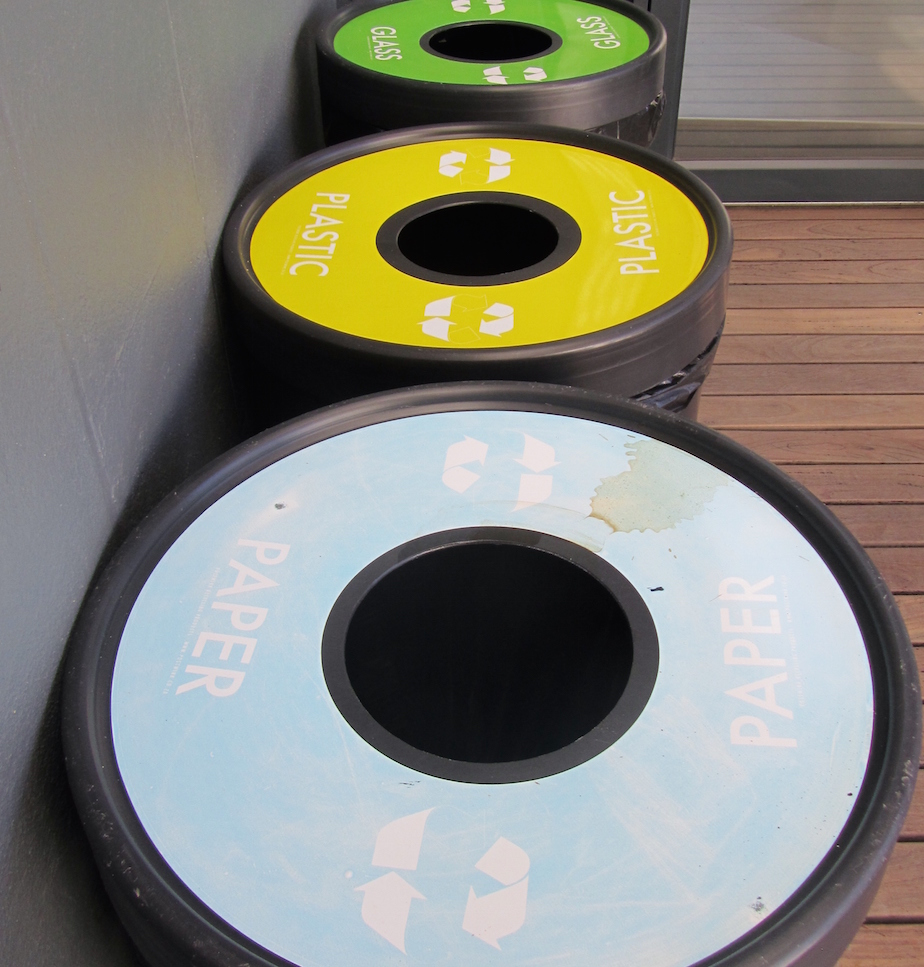 3 recycling bins at main disposal area, Tedx Cape Town, Free World Design Centre, Cape Town