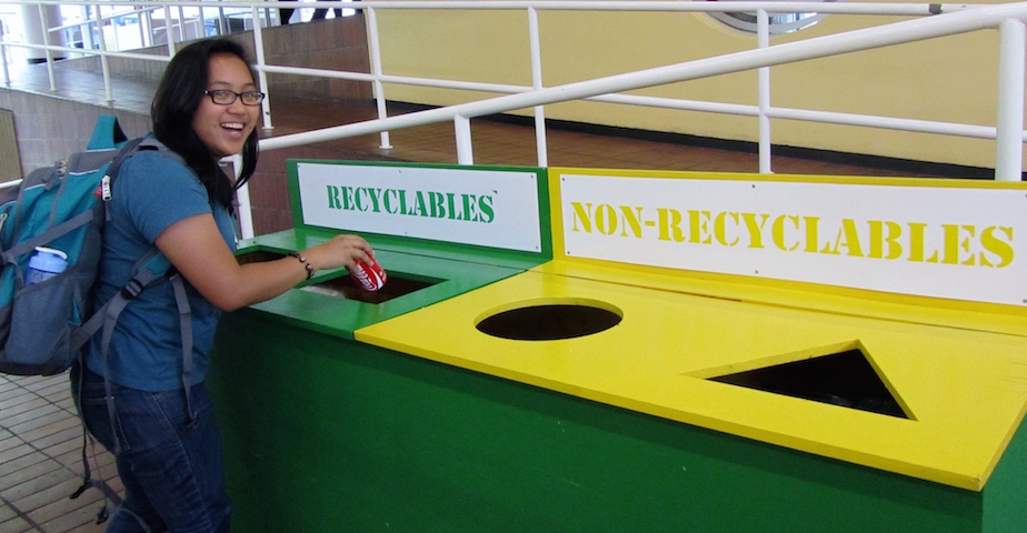 Compartmentalised bins offering recycleables and non-recycleables options, UCT main campus, Cape Town