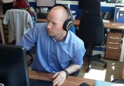this dad does sennheiser 449 HD headphones open plan office