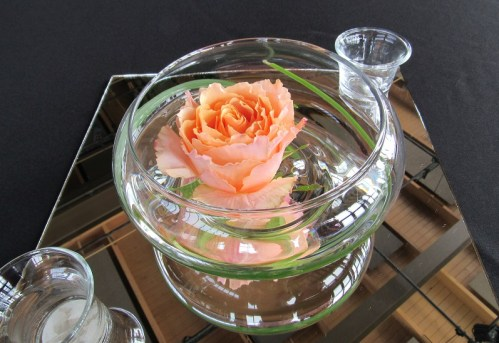 peach wedding flower float