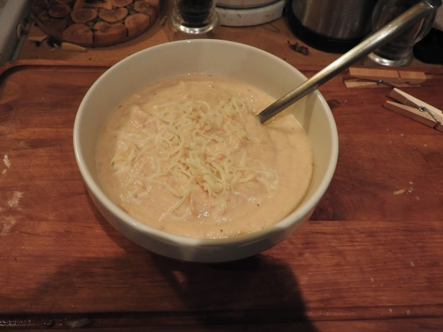 Puree with shredded Gouda