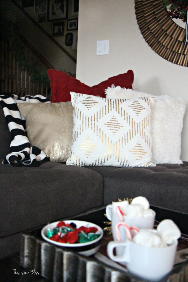 family room holiday pillows - hot cocoa - family room - This is our Bliss