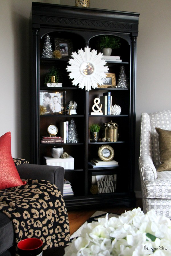 formal living room christmas decor bookcase - bookshelf styling - This is our Bliss