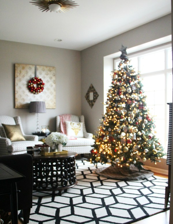 formal living room tree - bold neutral glam - thisisourbliss.com