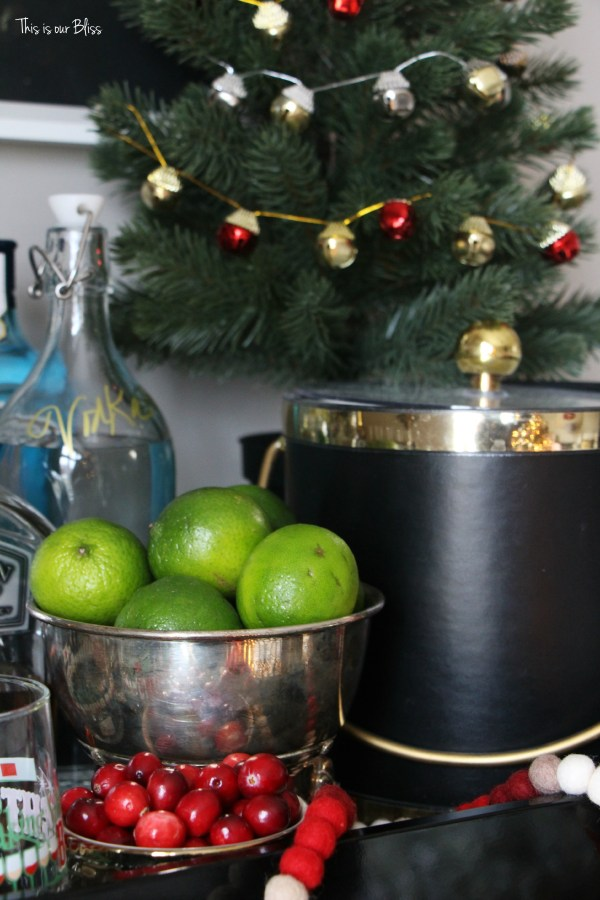 holiday bar tray - barware - bar accessories - bar cart styling - christmas spirits bright - This is our bliss