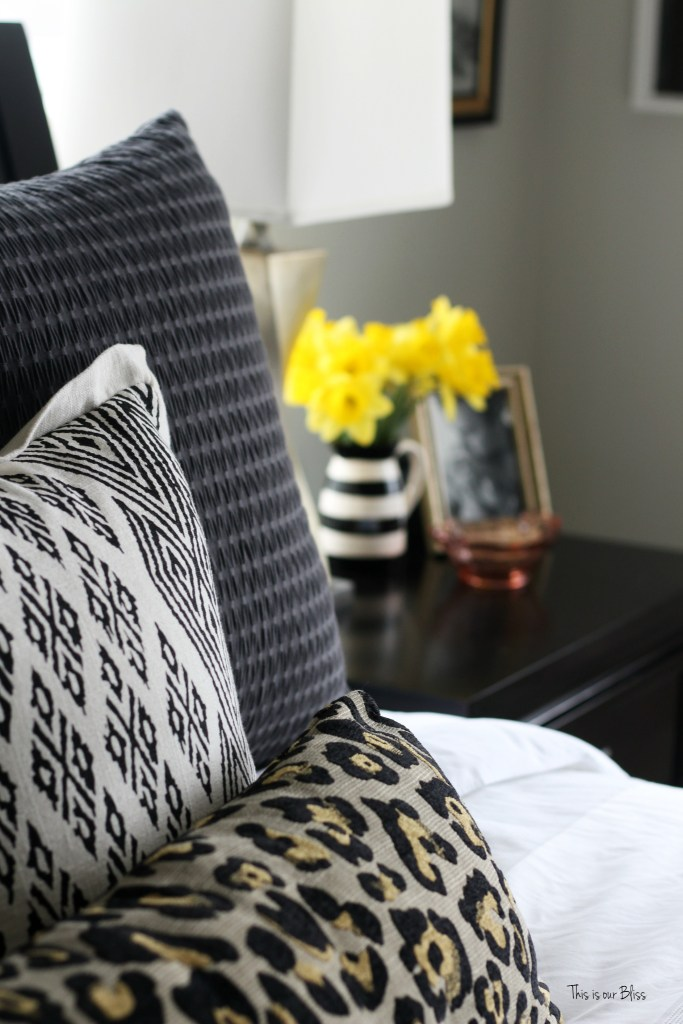 new year, new room refresh challenge - Master bedroom refresh - gold decor - how to style a nightstand -pattern play pillows - This is our Bliss - www.thisisourbliss.com