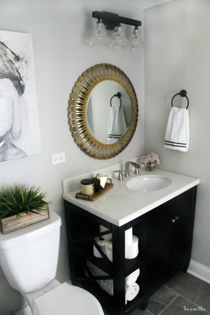 How to create a neutral glam bathroom for White and gold bathroom accessories