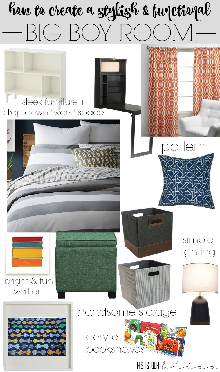 How to create a stylish and functional Big Boy Room | Curious Little Gentleman | Big Boy Room Mood Board | This is our Bliss || www.thisisourbliss.com