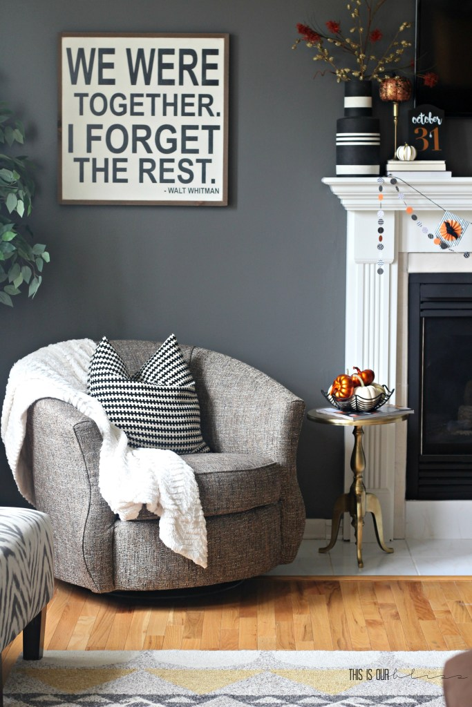 Super simple last-minute Halloween decorating | Simple Halloween Mantel! | This is our Bliss | www.thisisourbliss.com