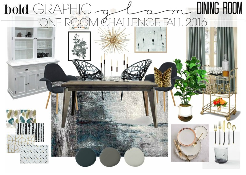 Bold Graphic Glam Dining Room Makeover | One Room Challenge Mood Board & design ideas | This is our Bliss | www.thisisourbliss.com