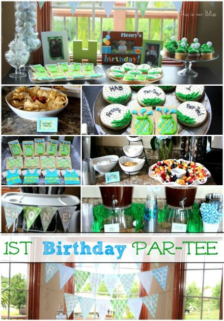 1st birthday par-tee! - golf-themed birthday party - club sandwiches - yogurt par-fait bar - golf cookies - This is our Bliss