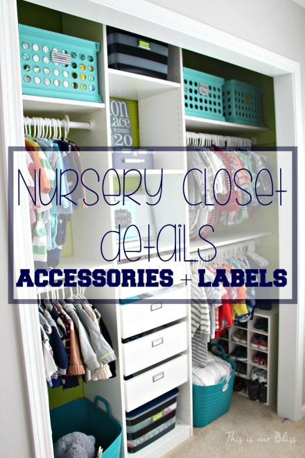 Baby boy nursery closet - DIY nursery decor - Nursery closet details - accessories + labels - navy green gray - This is our Bliss