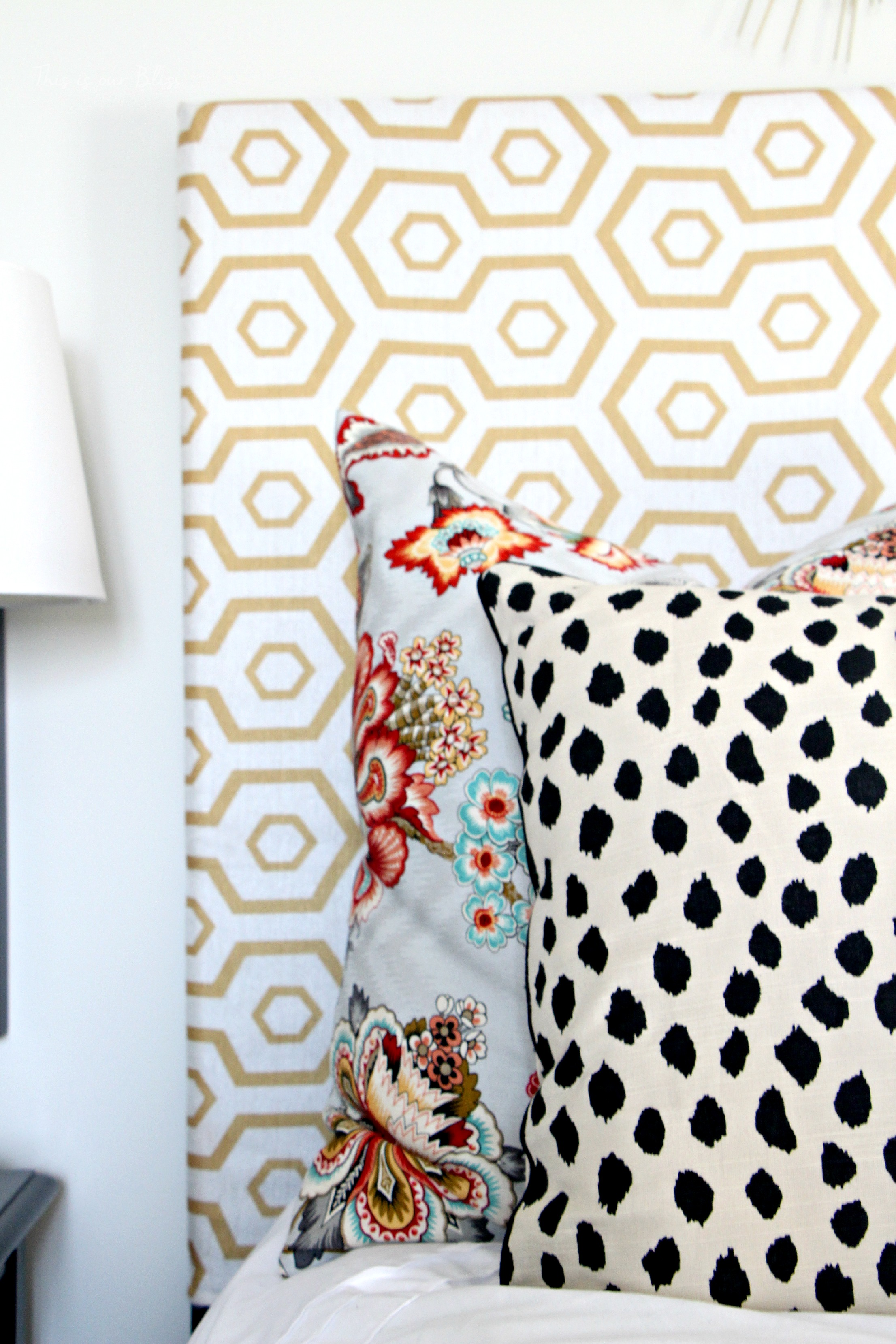 Guestroom revamp pattern play pillows floral dalmation hexago