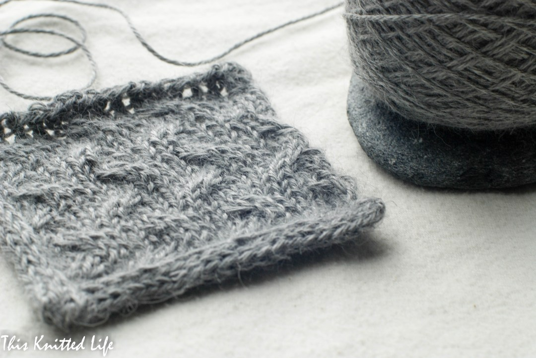 Swatching up a poncho in Puna Amano alpaca.