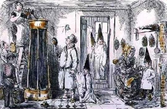 Domestic Sanitary Regulation, John Leech 1851. In this scene, the shower is installed in the kitchen. The children are wearing the conical caps to protect their hair as they wait their turn wearing blankets, jackets or robes.