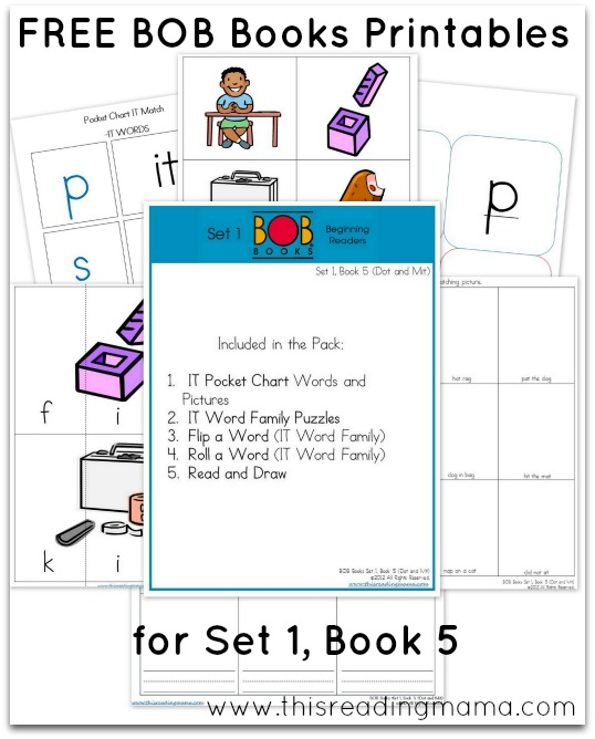 FREE BOB Books Printables for Set 1-Book 5 This Reading Mama