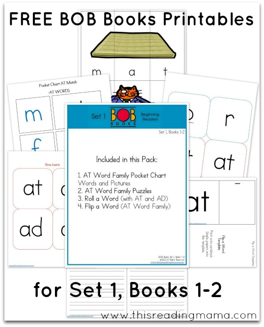 FREE BOB Books Printables for Set 1 Books 1-2  This Reading Mama