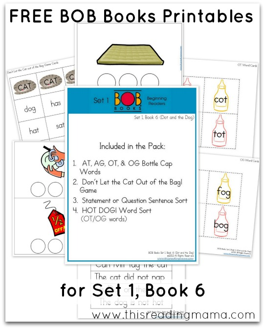 FREE BOB Books Printables for Set 1-Book 6 This Reading Mama