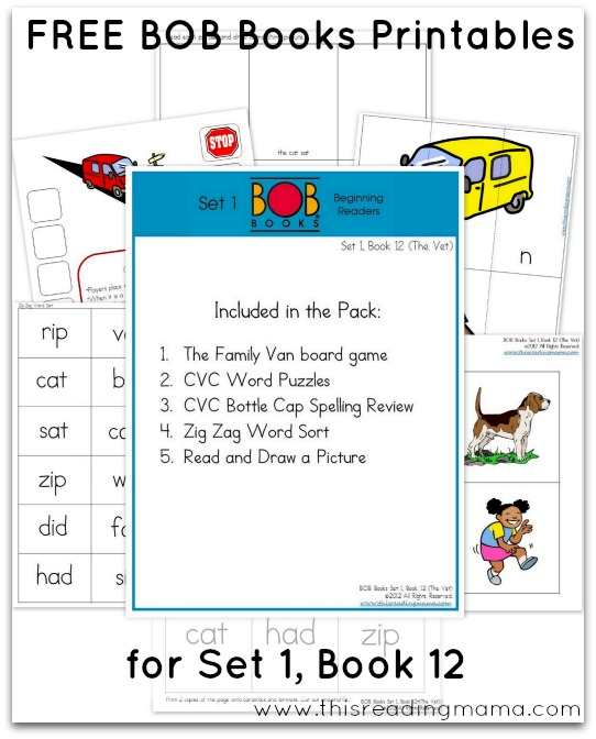 FREE BOB Books Printables for Set 1 - Book 12 This Reading Mama
