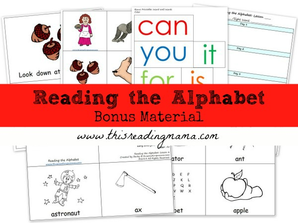 Reading the Alphabet- Bonus Material | This Reading Mama