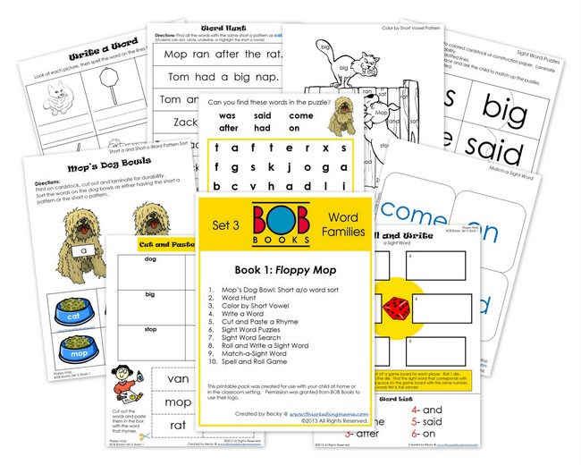 FREE BOB Book Printables- Set 3, Book 1 | This Reading Mama