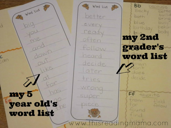 print off and write a spelling list specific for each player | This Reading Mama
