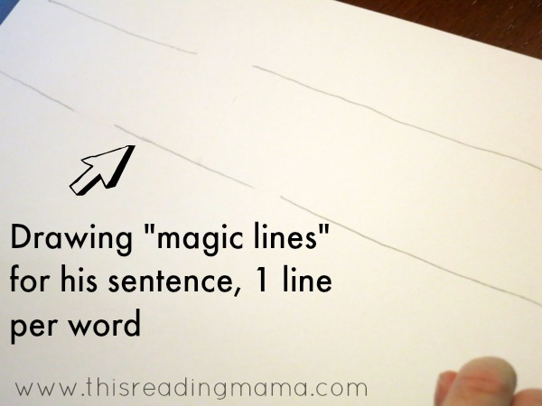 drawing magic lines before kids write their sentence