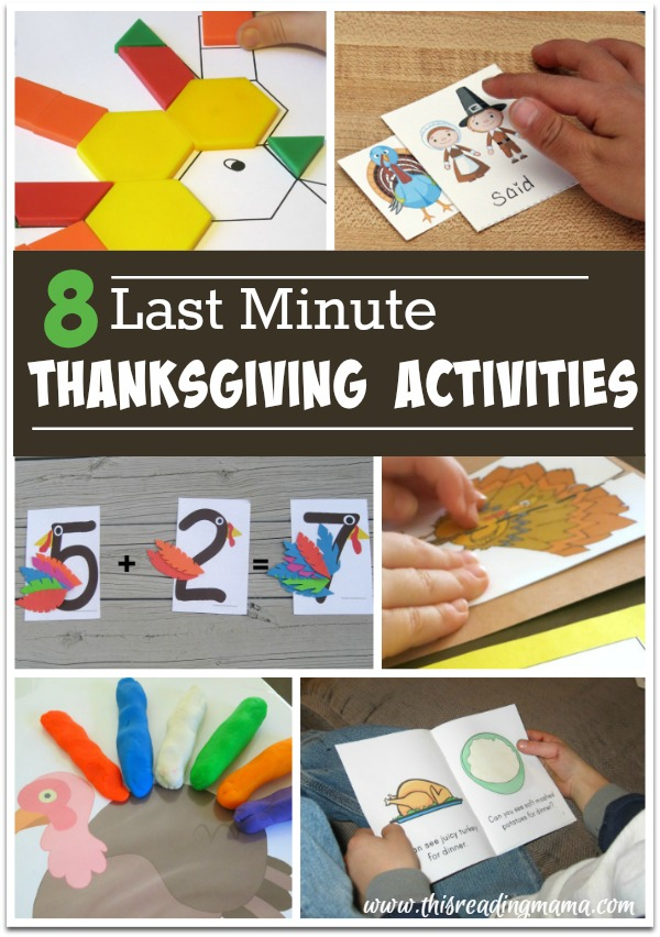 8 Last Minute Thanksgiving Activities - This Reading Mama