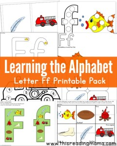 Learning the Alphabet FREE Letter F Printable Pack