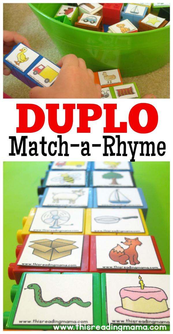 DUPLO Rhyming Word Matching - This Reading Mama