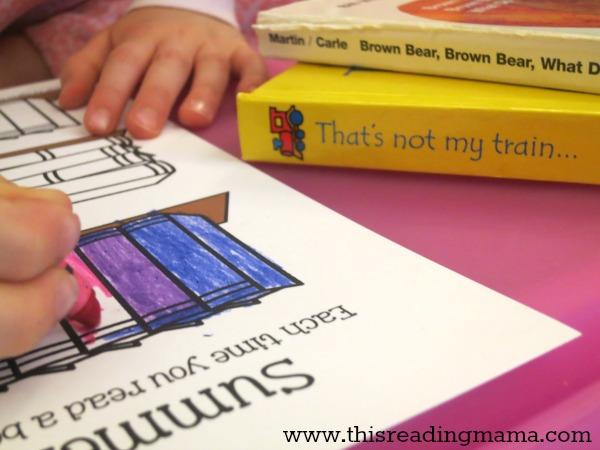 coloring in the summer reading log after reading