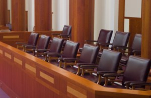 The area in the courtroom where the jurors sit
