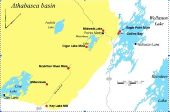 Some of the camps in the Athabasca Basin's eastern half.