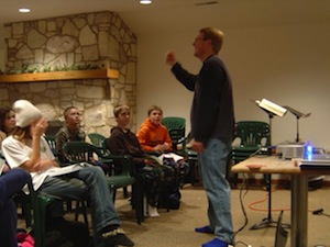 Speaking to jr higers Camp Zion Jan09