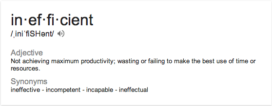 Meaning of inefficient