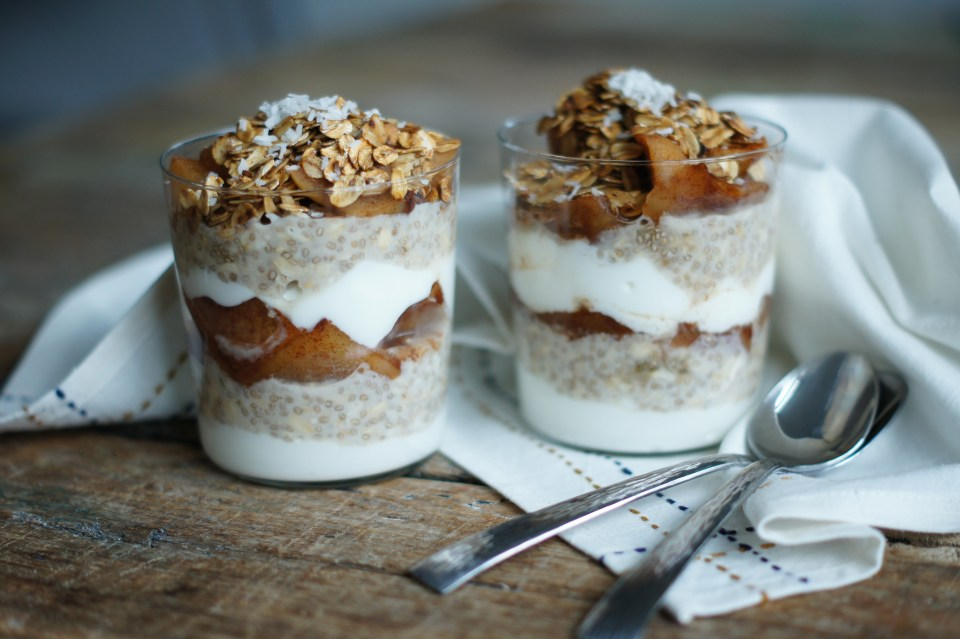 overnight chia pudding Recipe with baked oatmeal and apple compote