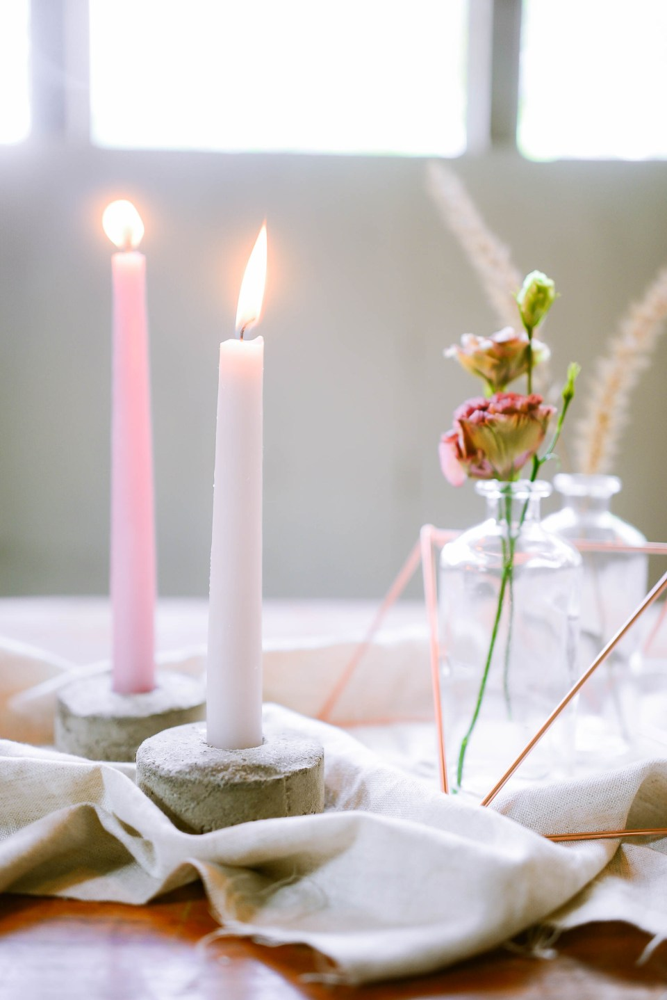 Modern Tablescape with DIY candle holders
