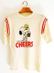 vintage 80s peanuts snoopy and woodstock cheers t-shirt-f15894