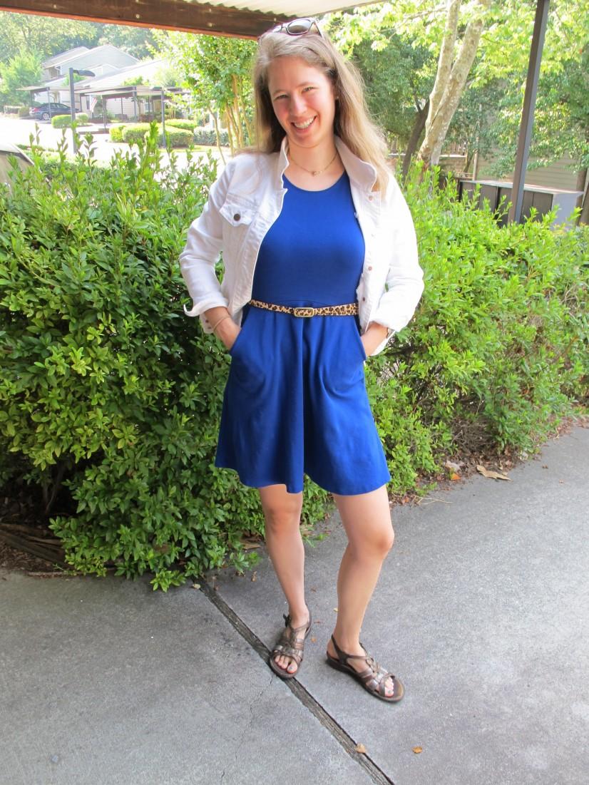 What I Wore: Flared Blue Dress   White Denim Jacket   Leopard ...