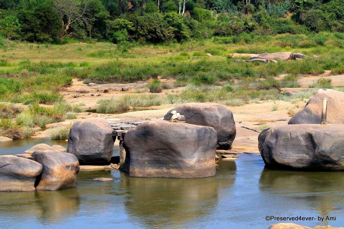 Little sculptures on the River boulders