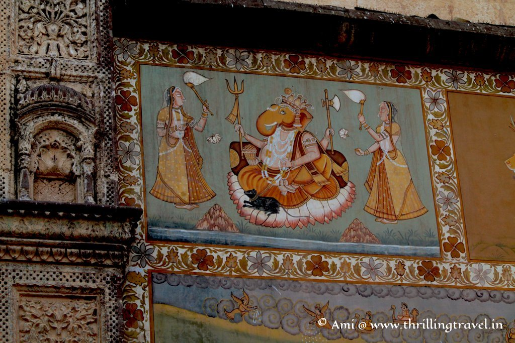 Close up of one of the paintings at Jai Pol, Mehrangarh Fort
