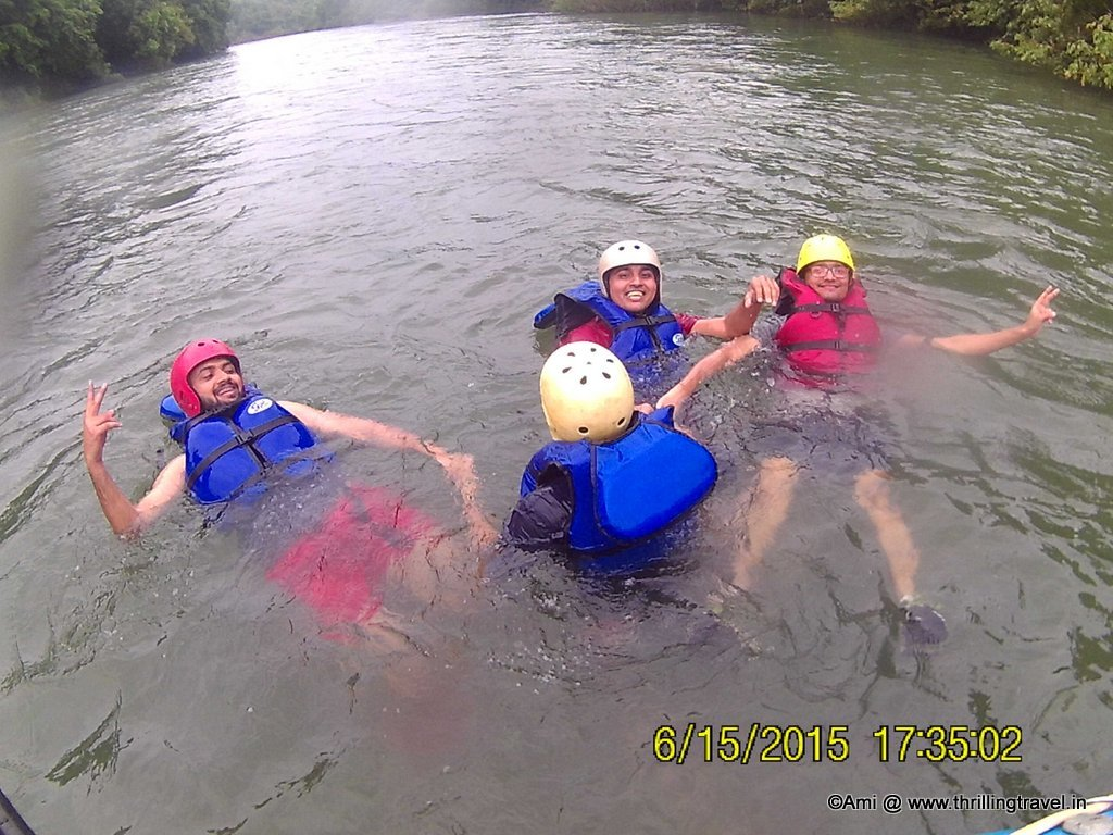Swimming in the Mhadei river - part of the White water rafting experience.