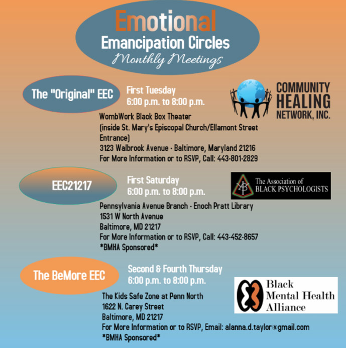 Emotional Emancipation Circles Schedule - Baltimore