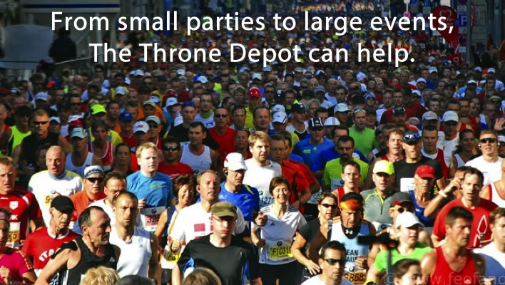 From small parties to large events, Throne Depot can help