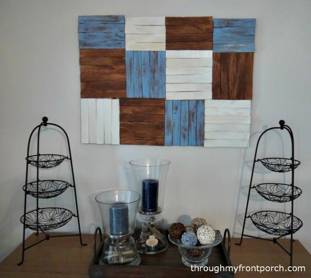PB Inspired Patchwork Wood Shim Wall Art