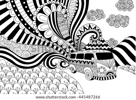 Van Line Art Design Coloring Book Stock Vector  Royalty Free     Van line art design for coloring book for adult