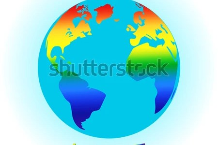 Map symbols primary stock vector globe symbol with lgbt rainbow colored world map world map painted in seven primary sciox Gallery